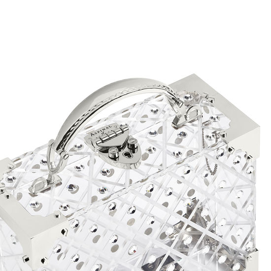 Mini Trunk Clutch in Diamond Cut Transparent Acrylic with Silver Crystals from Aspinal of London