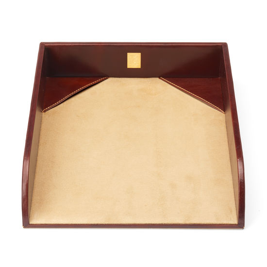 Paper Tray in Smooth Cognac & Stone Suede from Aspinal of London