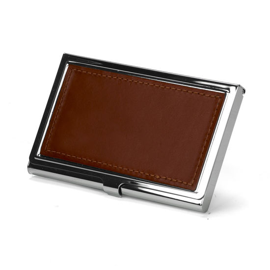 Stainless Steel Business Card Holder in Smooth Cognac from Aspinal of London