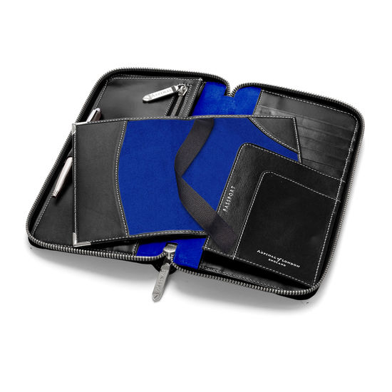 Zipped Travel Wallet with Passport Cover in Smooth Black & Cobalt Blue Suede from Aspinal of London