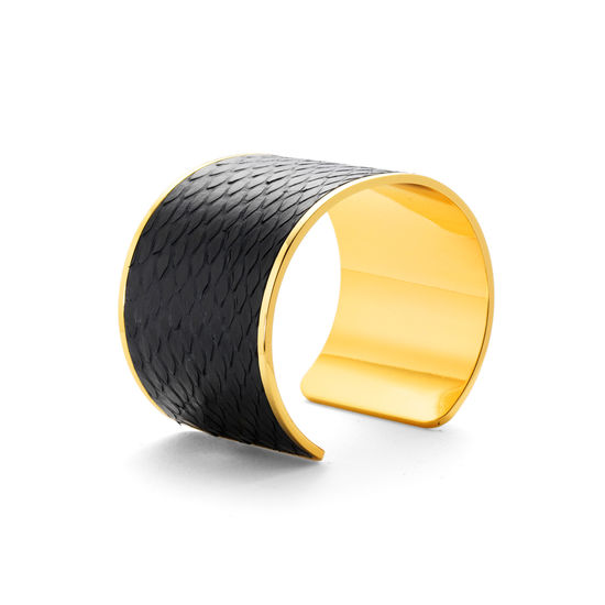 Cleopatra Cuff Bracelet in Black Python from Aspinal of London