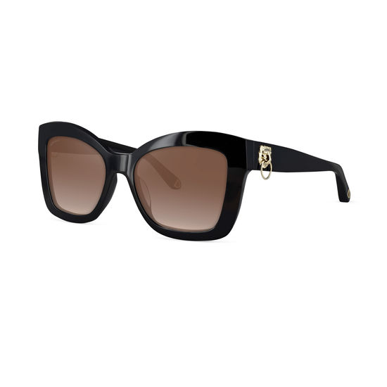 Amalfi Sunglasses in Black Acetate from Aspinal of London