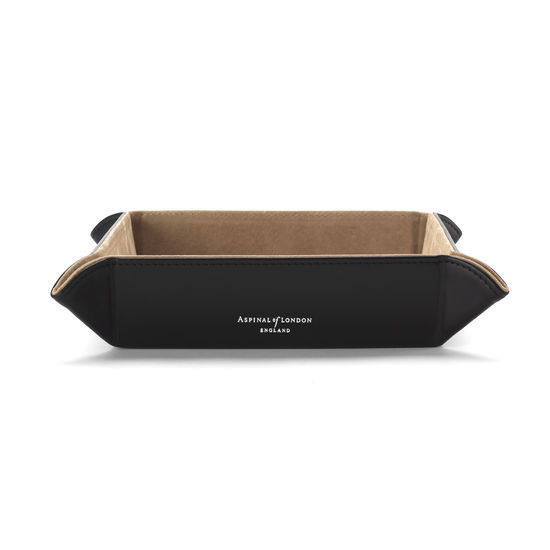 Medium Tidy Tray in Smooth Black & Stone Suede from Aspinal of London