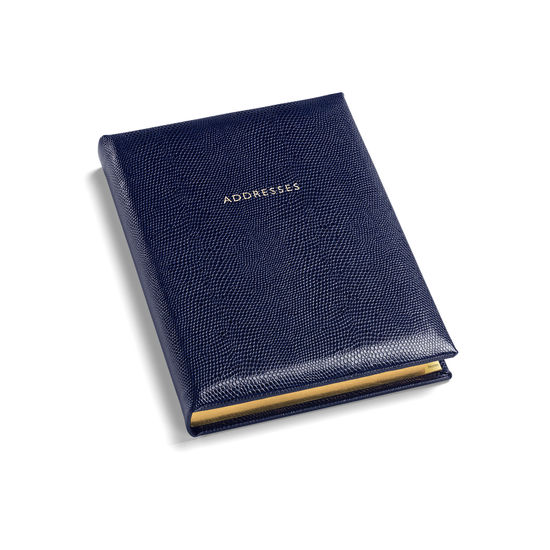 Lizard Print Large Address Book in Midnight Blue Lizard from Aspinal of London