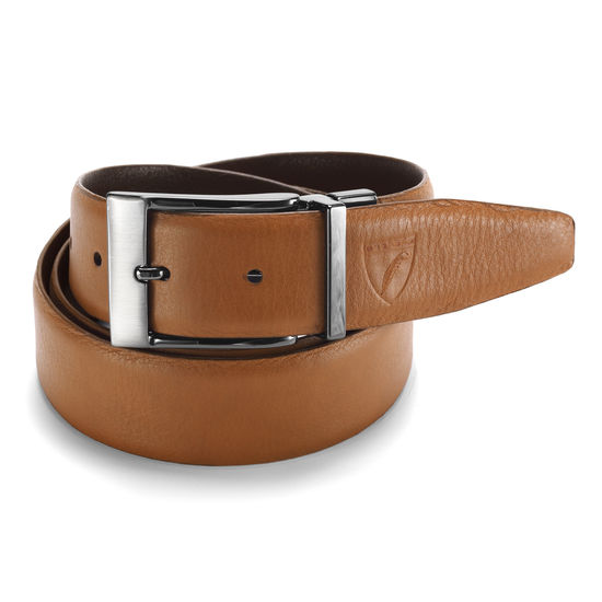 Men's Reversible Leather Belt in Smooth Brown & Tan from Aspinal of London