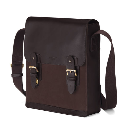Small Shadow Messenger in Brown Nubuck from Aspinal of London