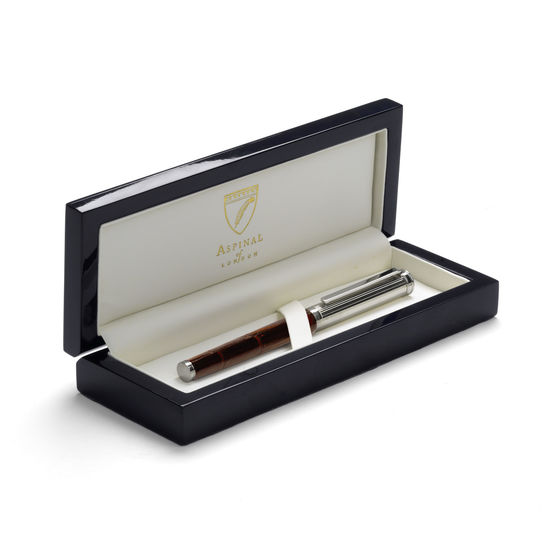 Sterling Silver & Leather Fountain Pen in Deep Shine Amazon Brown Croc from Aspinal of London