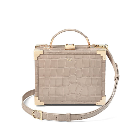 Mini Trunk Clutch in Deep Shine Soft Taupe Croc from Aspinal of London