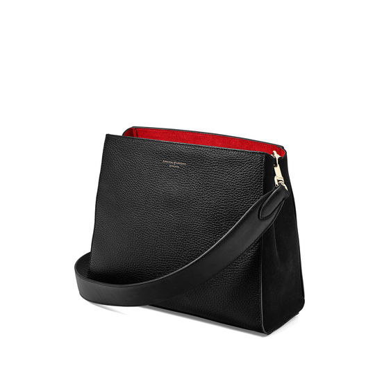 Small Ella Hobo in Black Pebble with Plain Strap from Aspinal of London