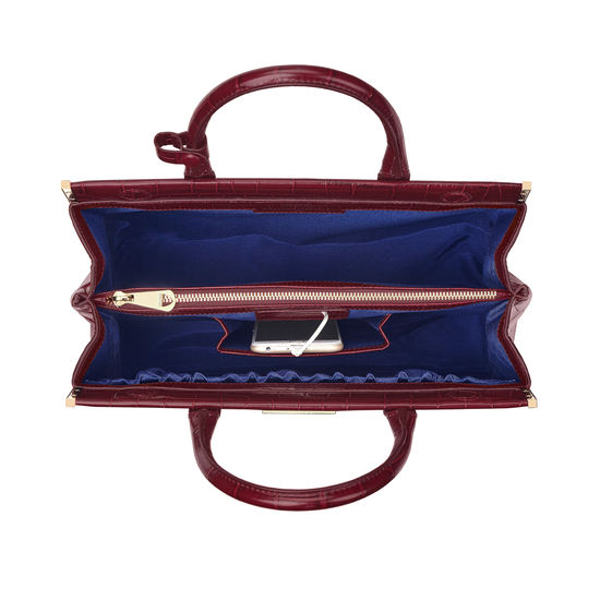 Large Florence Snap Bag in Deep Shine Bordeaux Croc from Aspinal of London