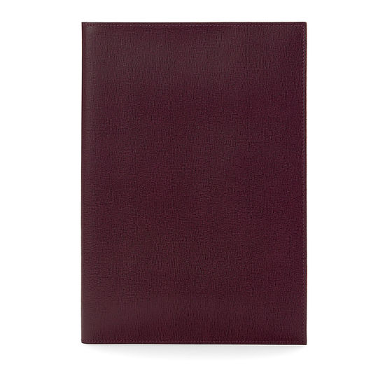 A4 Refillable Leather Journal in Burgundy Saffiano from Aspinal of London