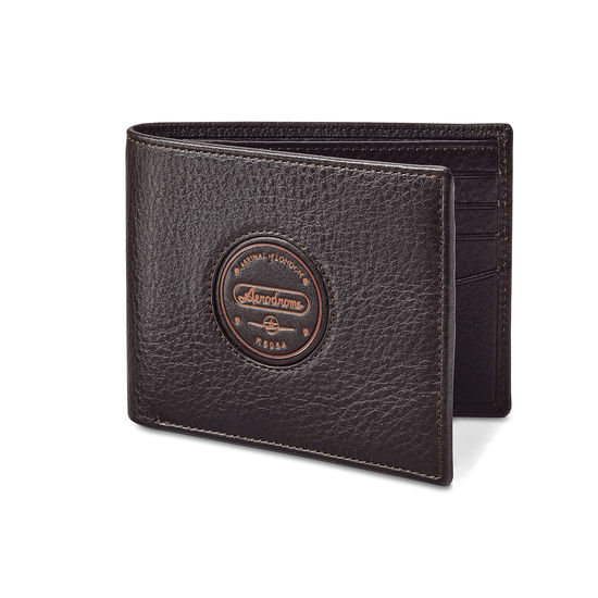 Aerodrome Billfold Wallet in Dark Brown Pebble from Aspinal of London