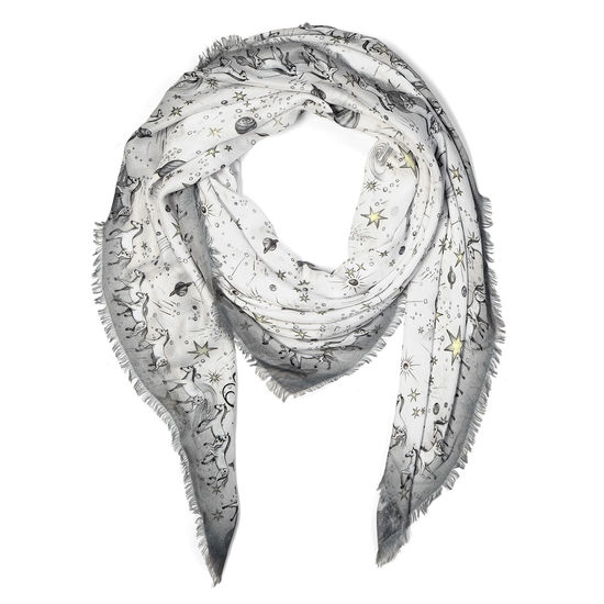 Pegasus Constellation Cashmere Blend Scarf in Ivory (55
