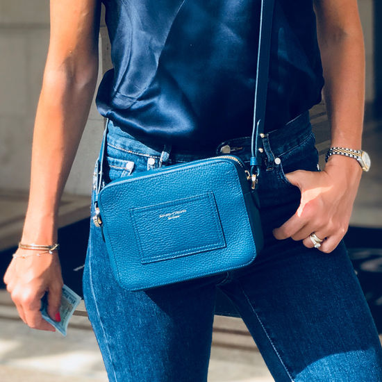 Camera Bag in Navy Pebble from Aspinal of London