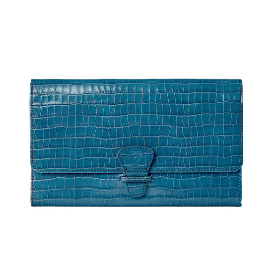 Classic Travel Wallet in Deep Shine Topaz Small Croc from Aspinal of London