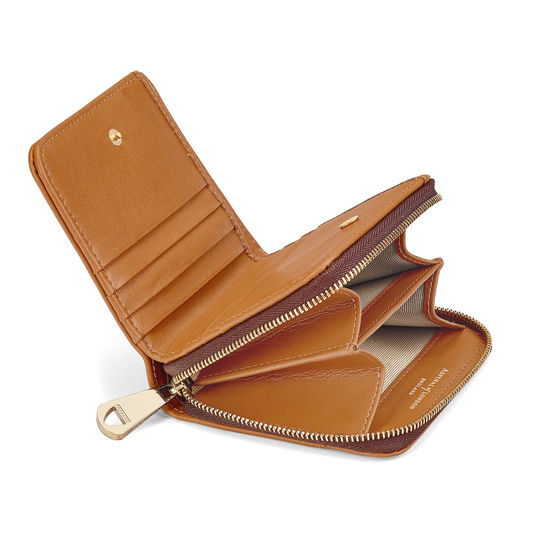 Mini Continental Zipped Coin Purse in Smooth Tan from Aspinal of London