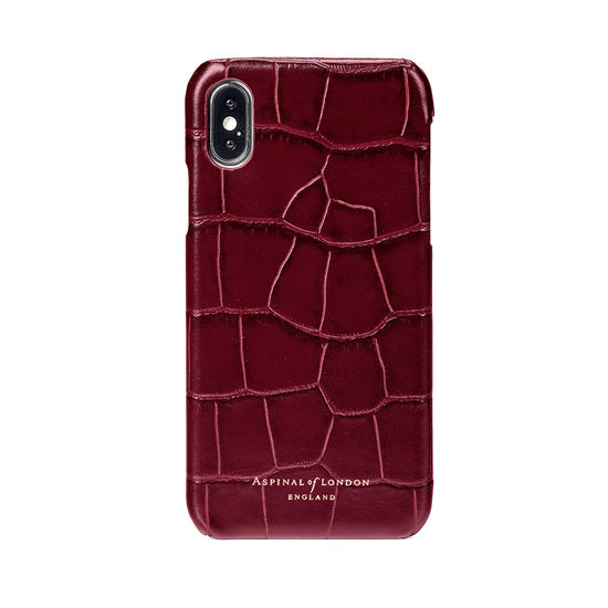 iPhone X Leather Cover in Deep Shine Bordeaux Croc from Aspinal of London