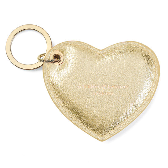 Heart Keyring in Pale Gold Pebble from Aspinal of London