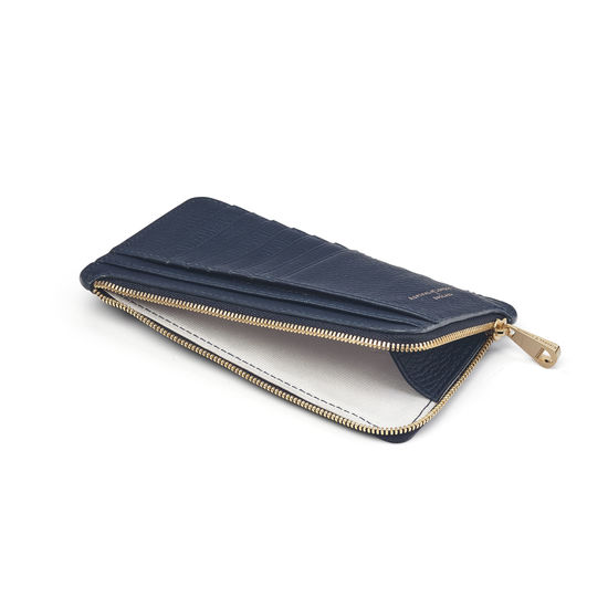 Large Zipped Coin Purse in Navy Pebble from Aspinal of London