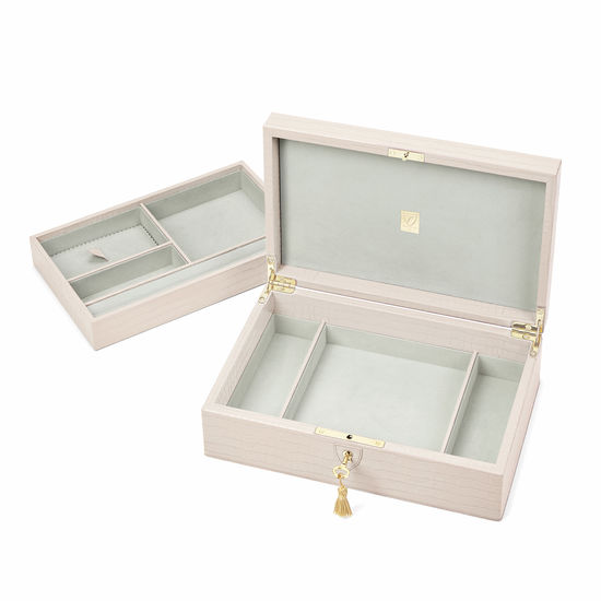 Savoy Jewellery Box in Deep Shine Shell Pink Small Croc from Aspinal of London