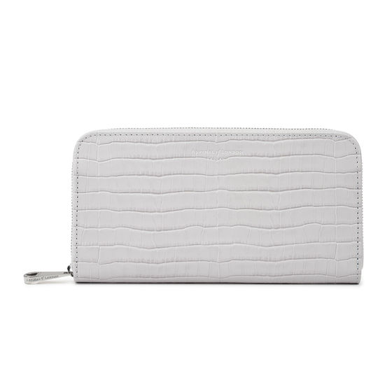 Continental Clutch Zip Wallet in Deep Shine Dove Grey Small Croc from Aspinal of London