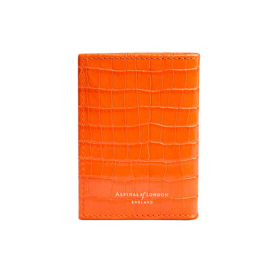 Double Fold Credit Card Case in Deep Shine Amber Small Croc from Aspinal of London