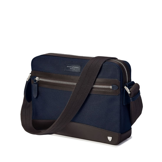 Anderson East West Reporter in Navy Nylon & Smooth Chocolate Leather Trim from Aspinal of London