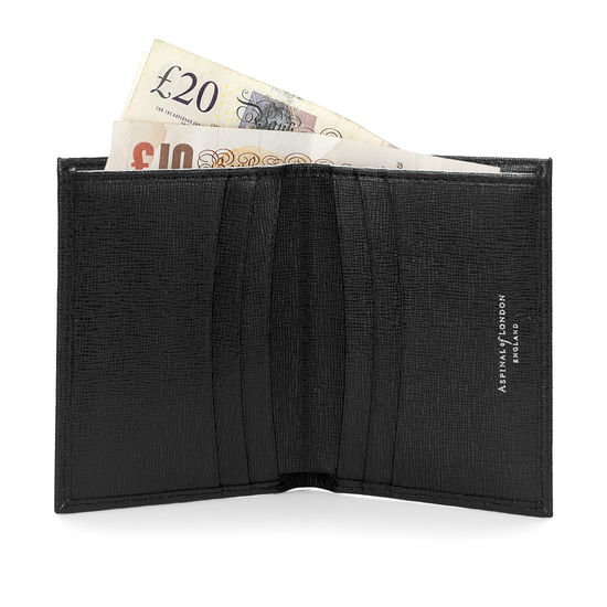 Double Fold Credit Card Case with Notes Pocket in Black Saffiano from Aspinal of London