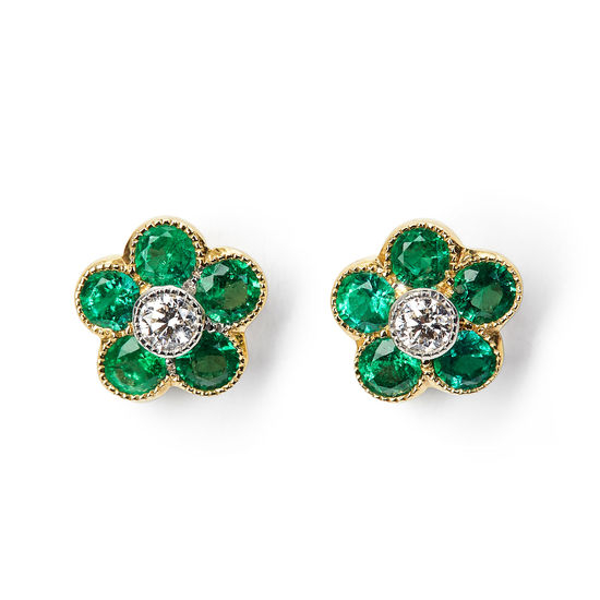 Athena 18ct Gold Emerald & Diamond Cluster Stud Earrings from Aspinal of London
