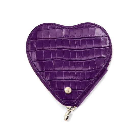 Heart Coin Purse in Deep Shine Amethyst Small Croc from Aspinal of London