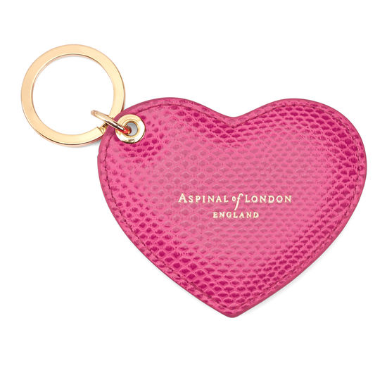 Heart Key Ring in Raspberry Lizard from Aspinal of London