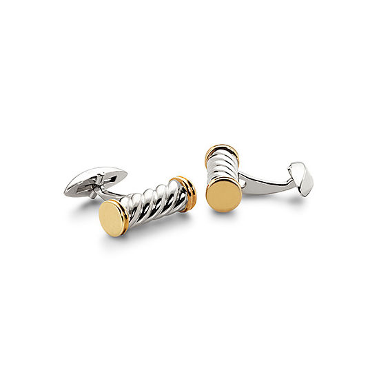 Sterling Silver & Gold Plated Twist Barrel Cufflinks from Aspinal of London