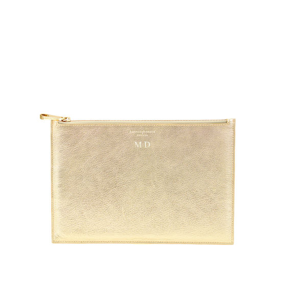 Large Essential Flat Pouch in Pale Gold Pebble from Aspinal of London