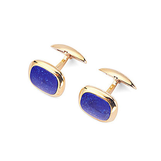 Cushion Cut Lapis Lazulite Cufflinks with Yellow Gold from Aspinal of London