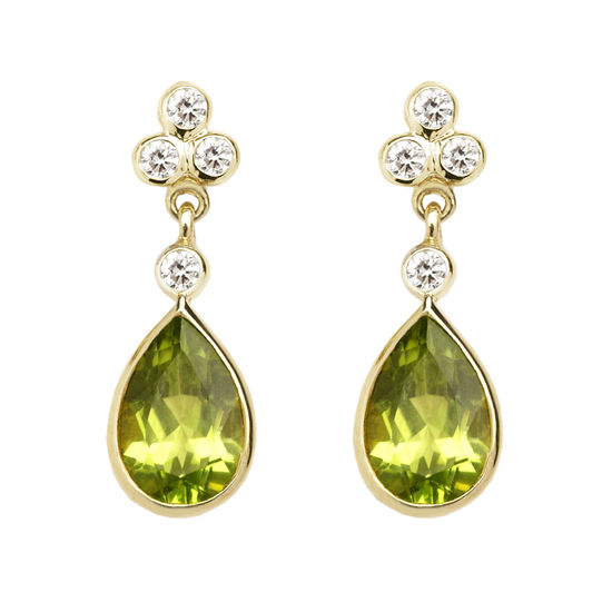 Aphrodite Teardrop Peridot & Diamond Earrings from Aspinal of London