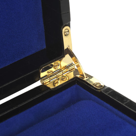 Harrison Square Four Watch Box in Black Croc & Cobalt Blue Suede from Aspinal of London