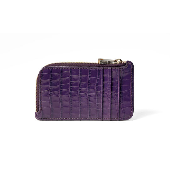 Zipped Coin & Card Holder in Amethyst Small Croc from Aspinal of London