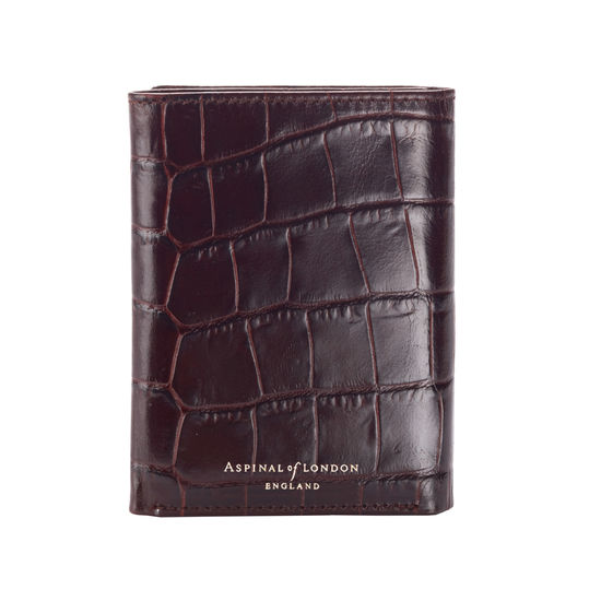 Trifold Wallet in Deep Shine Amazon Brown Croc from Aspinal of London