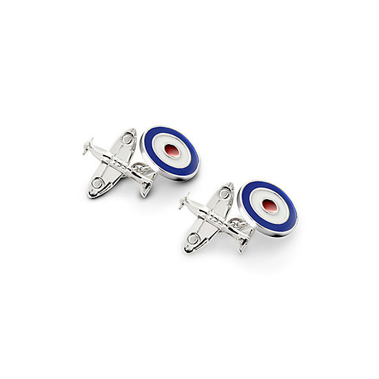 Sterling Silver Spitfire & Enamel RAF Roundel Cufflinks from Aspinal of London