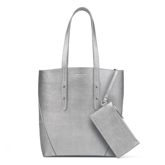 Essential Tote in Silver Saffiano (with A-Stitched Side Panels) from Aspinal of London