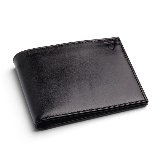 8 Card Billfold Wallet in Smooth Black with Red Snake from Aspinal of London