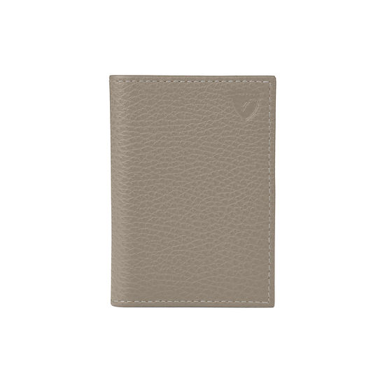 Double Fold Credit Card Case in Warm Grey Pebble from Aspinal of London
