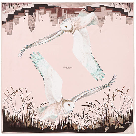 Owl in the City Silk Scarf in Champagne & Deer Brown from Aspinal of London