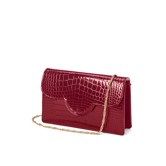 Ava Bag in Bordeaux Patent Croc from Aspinal of London