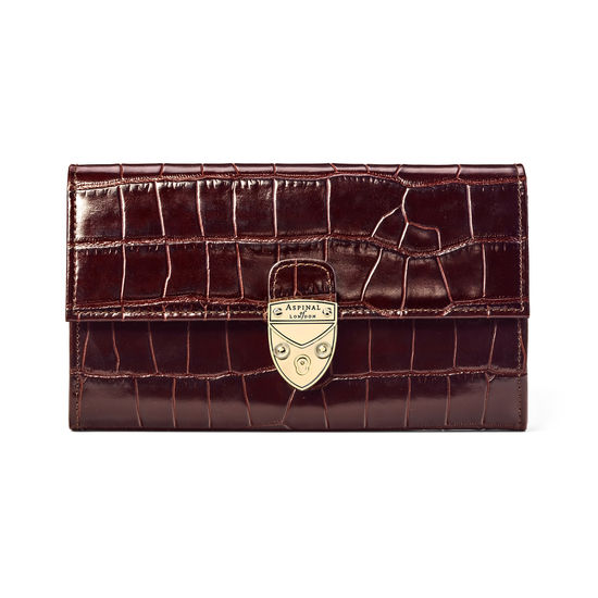 Mayfair Purse in Deep Shine Amazon Brown Croc from Aspinal of London