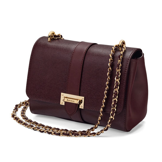 Lottie Bag in Burgundy Saffiano from Aspinal of London