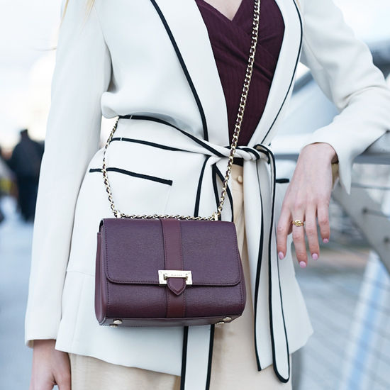 Small Lottie Bag in Burgundy Saffiano from Aspinal of London