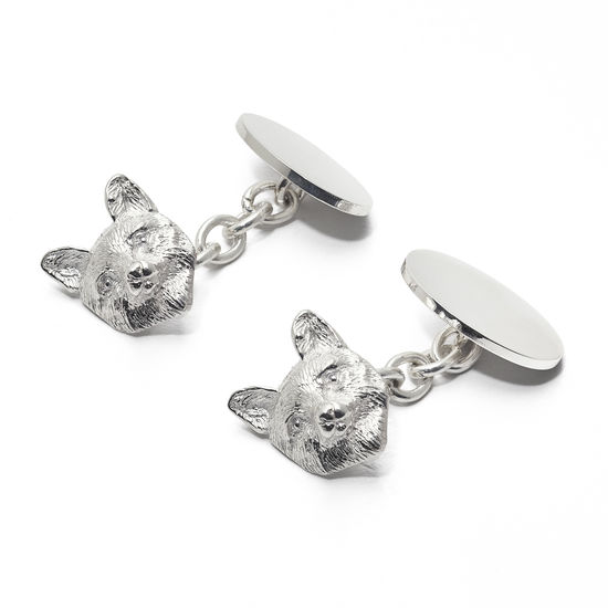 Sterling Silver Personalised Fox Head Cufflinks from Aspinal of London