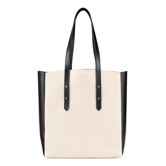 Essential Tote in Monochrome Mix & Black Suede from Aspinal of London