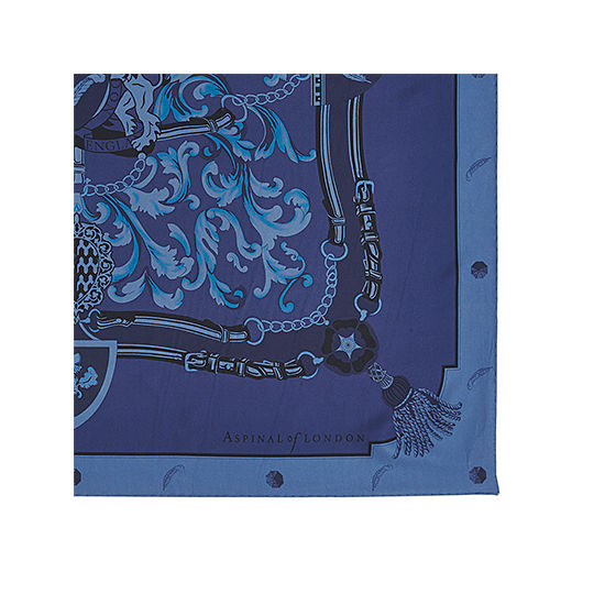 Aspinal Signature Shield Silk Scarf in Midnight Blue from Aspinal of London